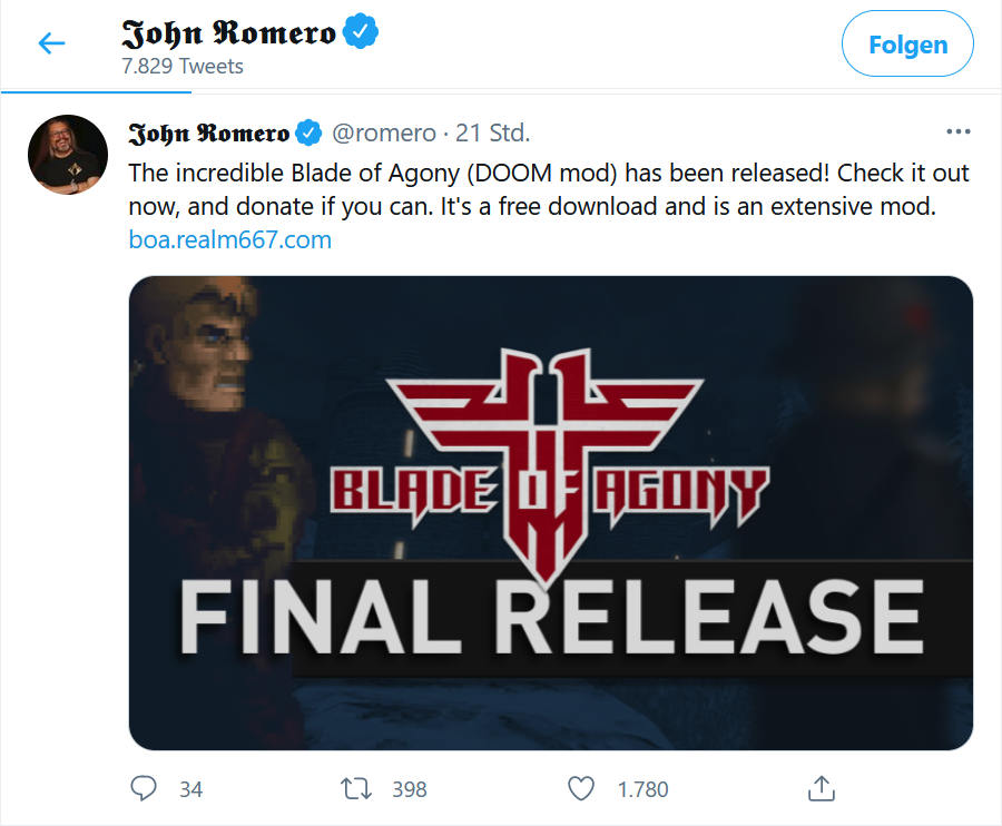 John Romero tweets about Blade of Agony